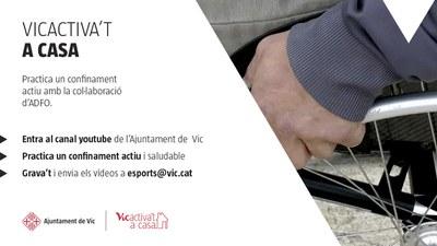 """L'Ajuntament de Vic i l'ADFO adapten """"Vicactiva't a casa"""" per a les persones amb mobilitat reduïda"""